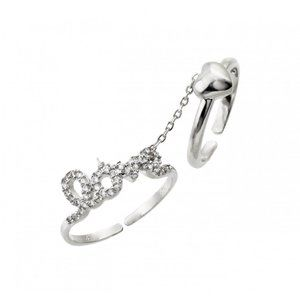 Silver 925 Clear CZ Love Heart Knucle Slave Ring